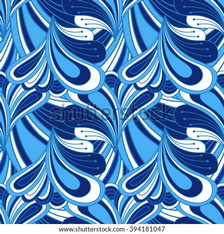Seamless abstract pattern doodle style in blue color. Background