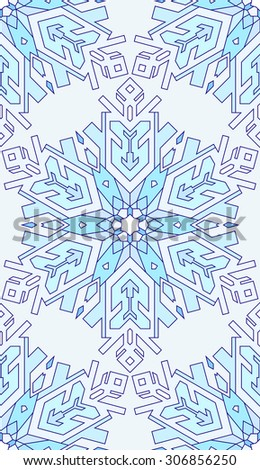 Seamless abstract pattern. Hand drawn texture, Christmas background, snowflake, vector illustration in blue tones. - stock vector