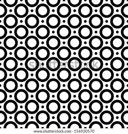 Seamless abstract pattern of circles and dots. black on a white background. vector - stock vector