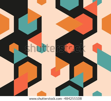 Seamless abstract pattern of geometric shapes.Geometric background with hexagons, trianges, rhombuses.