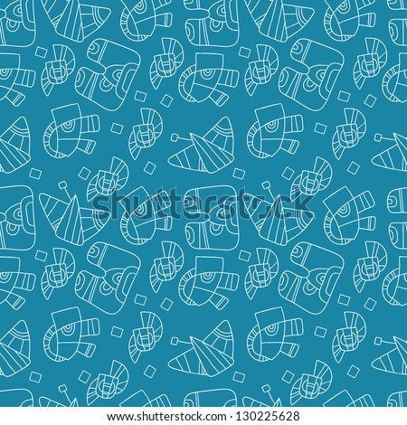seamless abstract pattern on a blue background - stock vector