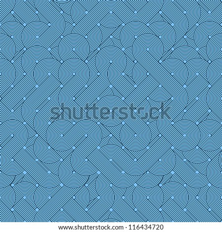 Seamless abstract pattern. Twisted lines. Blue. Vector illustration - stock vector