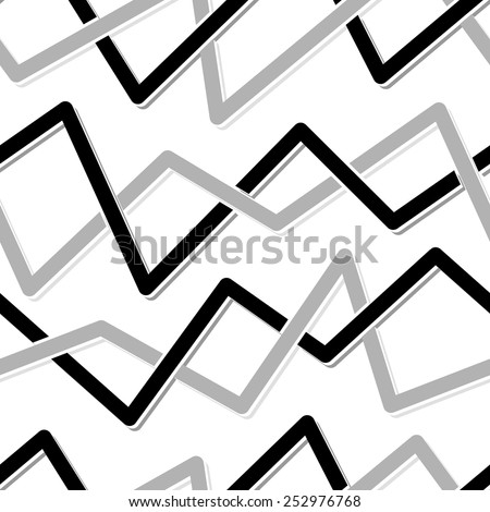 Seamless abstract pattern with black and grey lines on white - stock vector