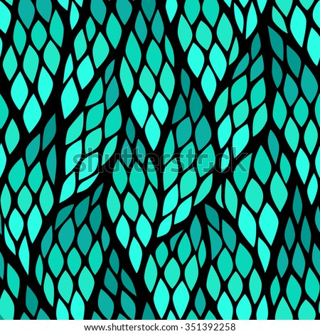 Seamless abstract pattern with colorful rhombuses. Vector illustration with leaves. Diagonal direction pattern.