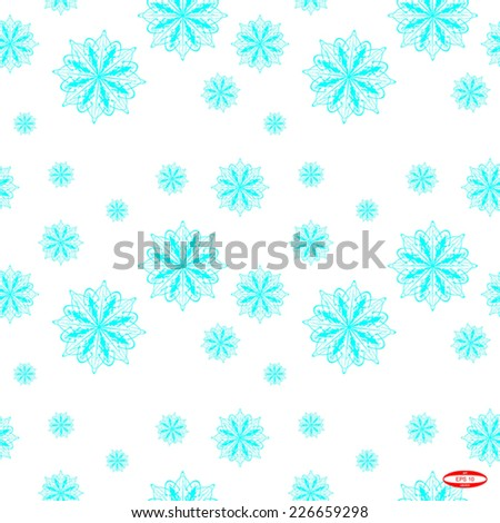 seamless abstract pattern with cyan white snowflake isolated on white background vector - stock vector