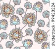 Seamless abstract pattern with floral eastern vintage design - stock vector