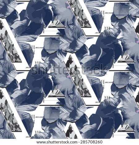 Seamless abstract pattern with flowers. Vector illustration. - stock vector