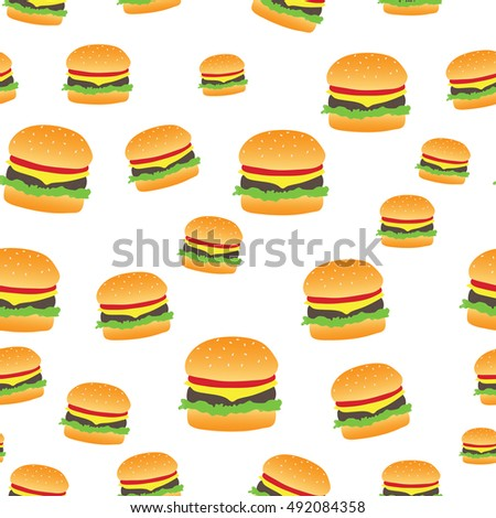 Seamless abstract pattern with hand-drawn burgers