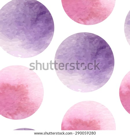 Seamless abstract pattern with pink and violet circles. Watercolor hand drawing. Vector illustration - stock vector