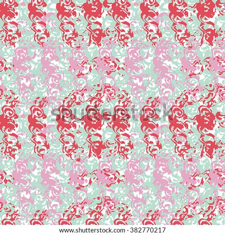 Seamless abstract pattern with red, pink, and white elements on green background