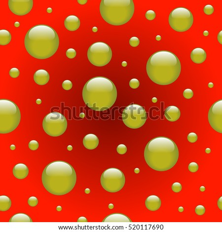 Seamless abstract pattern with yellow bubbles on the red background