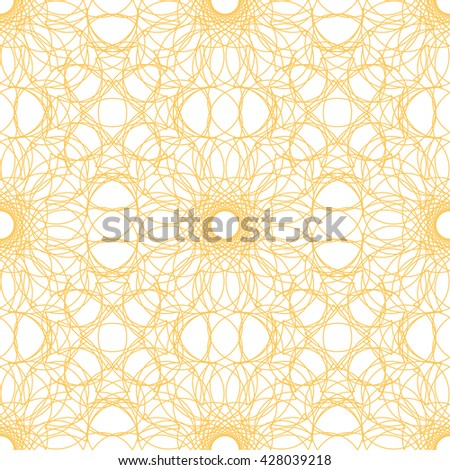 Seamless abstract pattern with yellow guilloche ornament isolated on white (transparent) background. Vector illustration eps - stock vector