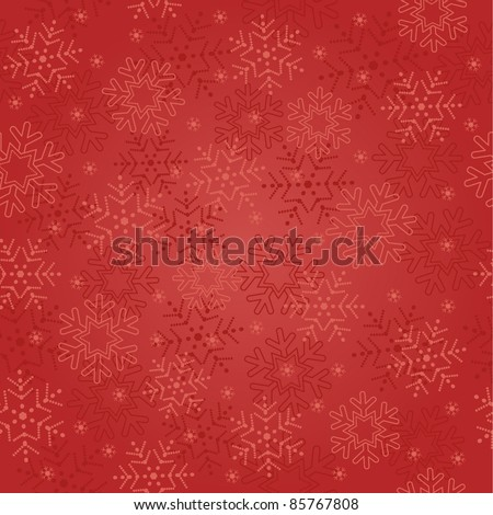 seamless abstract red Christmas background with snowflakes - stock vector