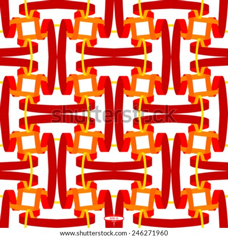 seamless abstract red white pattern orange white texture with red line wicker on white background vector - stock vector