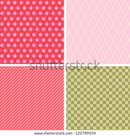 Seamless abstract retro pattern. Set of 4 geometric texture. - stock vector