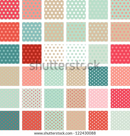 Seamless abstract retro pattern. Set of 36 polka dots textures. - stock vector