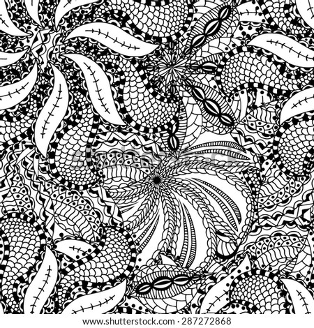 Seamless Abstract Tribal Pattern. Vector illustration. Hand Drawn Texture - stock vector