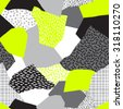 Seamless abstract vector collage of retro 80's Memphis fashion patterns in black, grays and neon yellow. - stock photo
