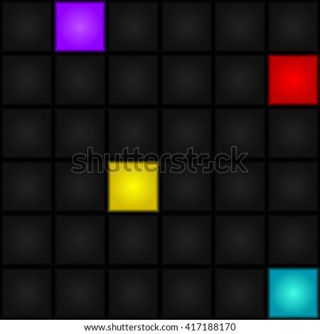 Seamless, abstract, vector pattern - blue, gray, purple, red and yellow squares. LED-Display. Retro. - stock vector