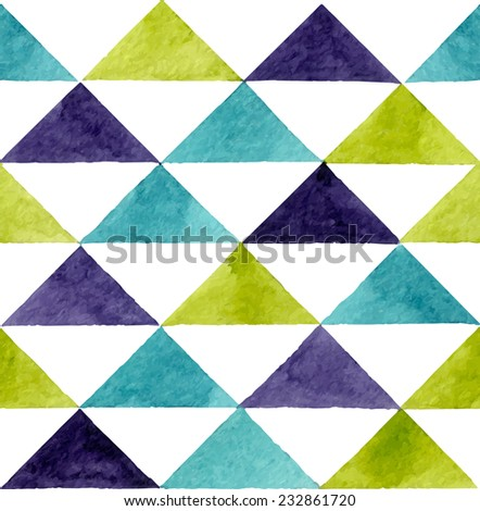 Seamless abstract watercolor retro triangular background - stock vector