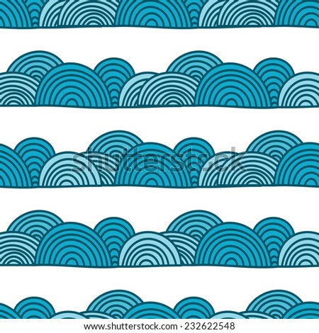 Seamless abstract wave and clouds  hand drawn pattern. Vector pattern in blue colors. - stock vector