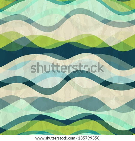 Seamless abstract waves pattern - stock vector