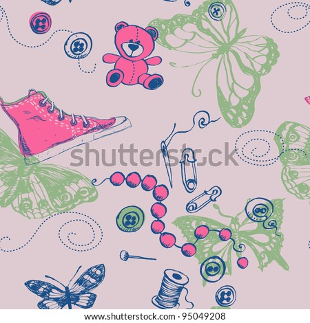 Seamless accessories hand-drawn pattern in cartoon style - stock vector