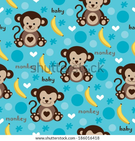 seamless adorable baby monkey and banana pattern vector  - stock vector