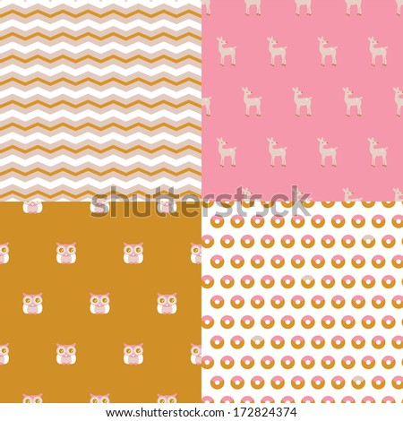 Seamless adorable baby nursery owl and deer fabric set background pattern in vector - stock vector