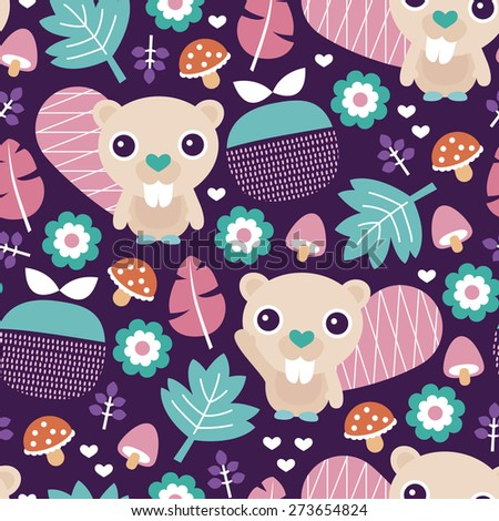 Seamless adorable beaver fruit and blossom woodland illustration kids colorful background pattern in vector - stock vector