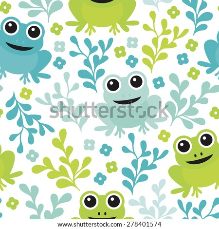 Seamless adorable kids frog woodland theme forest animals illustration background pattern in vector - stock vector