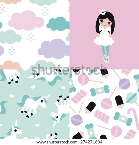 Seamless adorable princess unicorn and lollipop candy illustration girls background set collection pattern in vector - stock vector