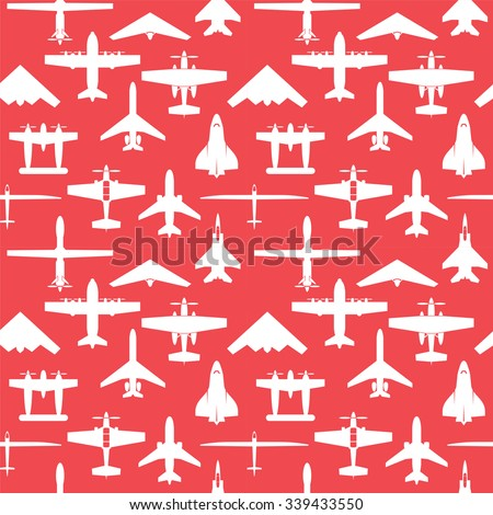 Seamless  airplane icons set and Background - stock vector