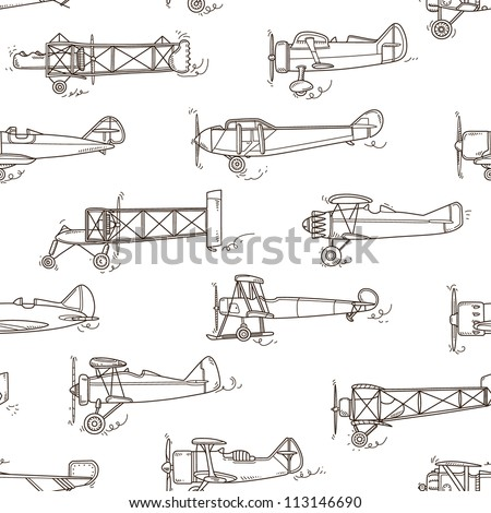 seamless airplane pattern - stock vector