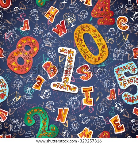 Seamless Alphabet And Numbers Background For Posters Prints Wallpaper Textiles Scrap