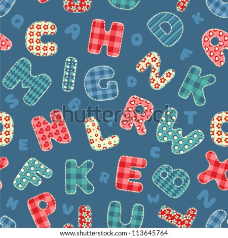 Seamless alphabet pattern. Vector background. - stock vector