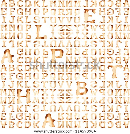 Seamless alphabet : vector pattern  coffee stain concept. - stock vector