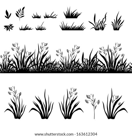 Seamless and set of grass and flowers, black silhouette isolated on white background. Vector - stock vector