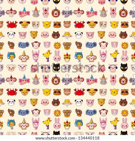 seamless animal face pattern - stock vector