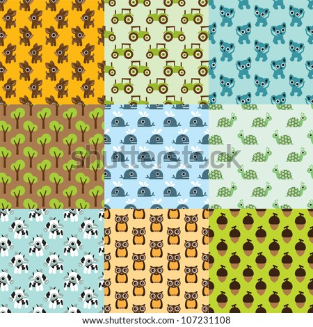 Seamless animal kids pattern selection background in vector - stock vector