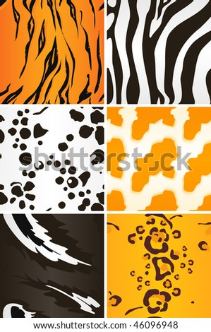 Seamless animal patterns, vector - stock vector