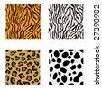 seamless animal prints - stock vector