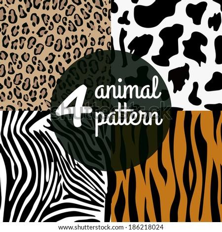 Seamless Animal Skin Pattern set: cow, tiger, zebra, leopard - stock vector