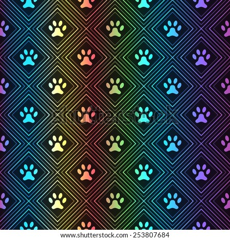 Seamless animal spectrum pattern of paw footprint in repeating rhombus on black background. Dog style. Shiny grunge wallpaper. - stock vector