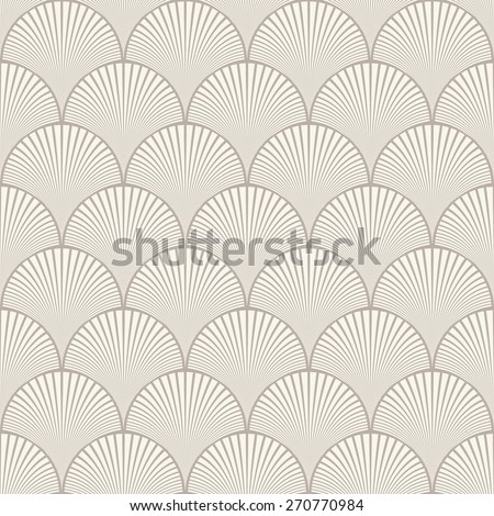 Seamless anthracite gray japanese art deco floral waves pattern vector - stock vector