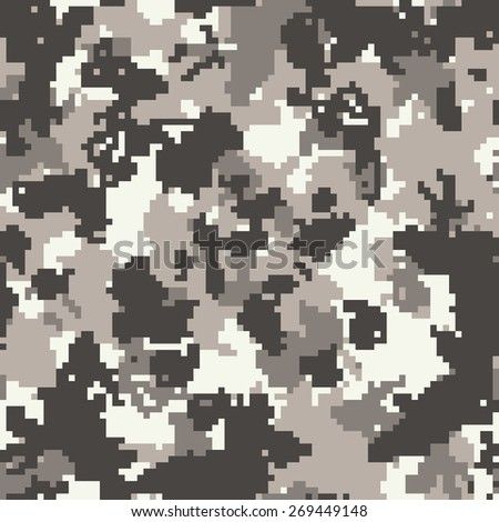 Seamless anthracite gray urban digital camouflage pattern vector - stock vector