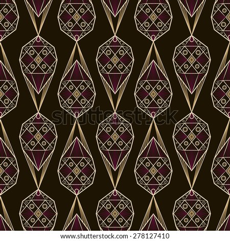 Seamless antique deco lace pattern ornament. Geometric stylish background. Vector repeating texture. - stock vector
