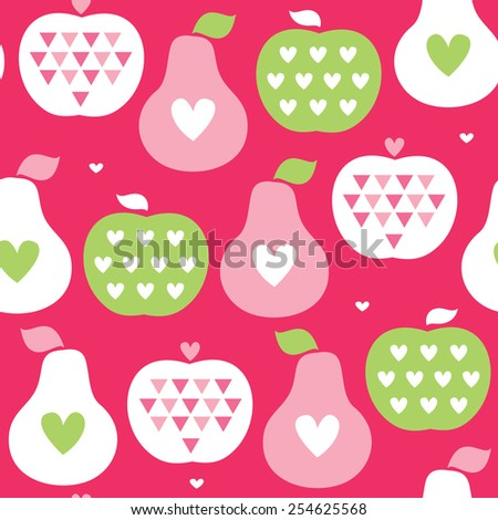 seamless apple and pear pattern vector illustration - stock vector
