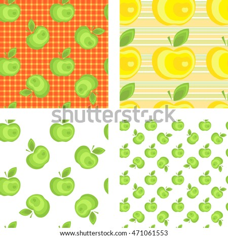 Seamless apple background pattern collection for advertising, design, web, tissue, packaging