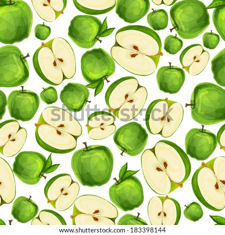 Seamless apple fruit sliced in half with seed and leaves pattern hand drawn sketch vector illustration - stock vector